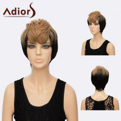 Adiors Short Shaggy Layered Side Bang Straight Two Tone Synthetic Hair
