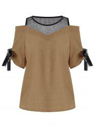 Mesh Insert Cold Shoulder Chiffon Top
