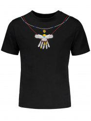 Eagle Embroidered Drop Shoulder Short Sleeve T-Shirt