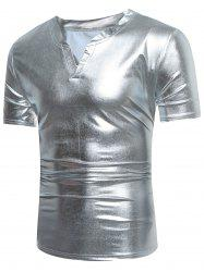 Short Sleeve Notch Neck Metallic Tee