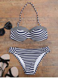 Stripe Push Up Strappy Bikini