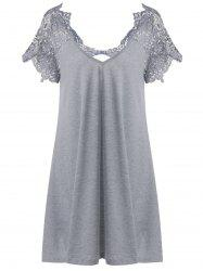 Lace Trim Cutwork T-Shirt Mini Dress - GRAY