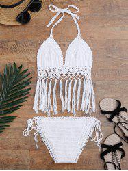 Scalloped Crochet Tassel Halter Bikini