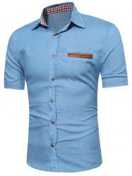 PU Leather Insert Short Sleeve Chambray Shirt - LIGHT BLUE