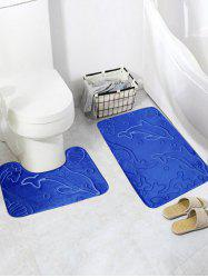 2Pcs Flannel Dolphin Print Bath Toilet Rug Set - BLUE