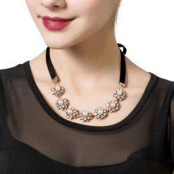 Faux Pearl Rhinestone Flower Ribbon Necklace