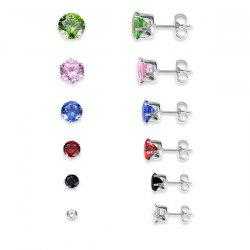 Artificial Gemstone Circle Stud Earring Set - MULTICOLOR