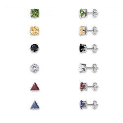 Alloy Rhinestone Geometric Stud Earring Set