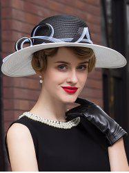 Pinstriped Sunproof Ribbon Straw Fedora Hat