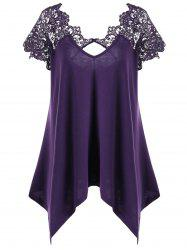 Plus Size Asymmetric Lace Panel T-Shirt - DEEP PURPLE