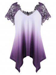 Plus Size Lace Panel Ombre Asymmetric T-Shirt - PURPLE