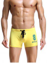 Number Print Drawstring Swimming Trunks -
