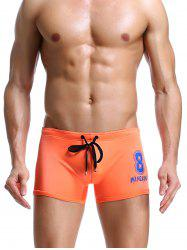Number Print Drawstring Swimming Trunks - ORANGE S