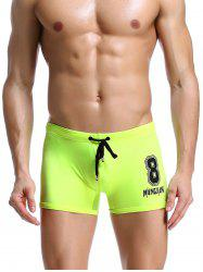 Number Print Drawstring Swimming Trunks - NEON GREEN