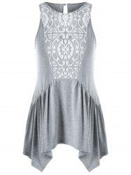 Lace Insert Swing Tank Top - GRAY