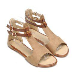 Casual Suede Flat Heel and Vintage Style Design Women's Sandals - APRICOT