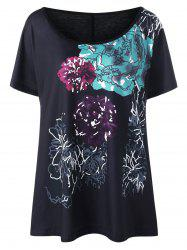 Plus Size Long Floral Ink Printed T-Shirt