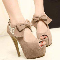 Wedding Lace and Suede Bowknot Design Women's Peep Toed Shoes - APRICOT