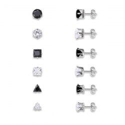 Rhinestoned Geometric Stud Earrings Set