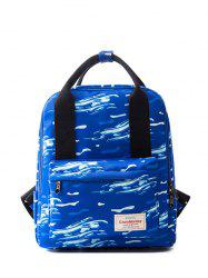 Top Handle Printed Nylon Backpack