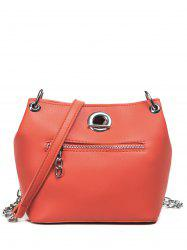 Chain Eyelet Front Zip Crossbody Bag - ORANGE