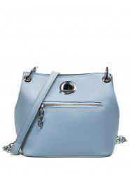 Chain Eyelet Front Zip Crossbody Bag