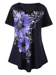Plus Size V Neck Floral Graphic T-Shirt - PURPLE 5XL