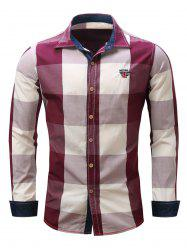 Turn-Down Collar Plaid Pattern Long Sleeve Shirt For Men - RED