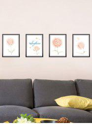 4Pcs Flower Photo Frame Removable Wall Stickers