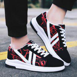 PU Leather Line Printed Casual Shoes