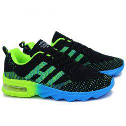 Breathable Multicolor Athletic Shoes - BLACK AND GREEN