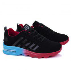 Air Cushion Faux Suede Athletic Shoes - BLACK RED