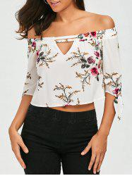 Floral Print Cut Out Blouse
