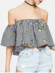 Off The Shoulder Embroidered Plaid Blouse -