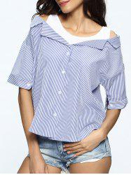 Striped Buttoned Cut Out Blouse