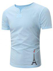 Eiffel Tower Print Notch Neck Linen Tee
