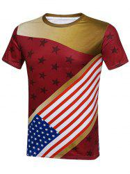 Crew Neck American Flag T-Shirt