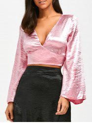 Self Tie Satin Plunging Neck Top