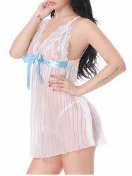 Backless Pleated Sheer Mesh Cami Babydoll - WHITE