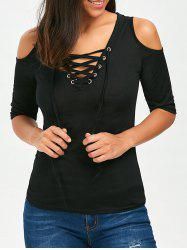 V Neck Lace Up Cold Shoulder Tee
