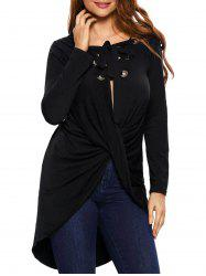 Lace Up Twist Ruched Long Tee
