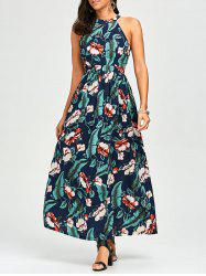High Waist Cutout Hawaiian Floral Maxi Dress