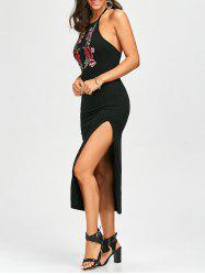 Floral Embroidered High Slit Fitted Halter Formal Dress