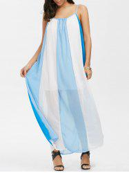 Spaghetti Strap Chiffon Color Block Sheer Maxi Dress