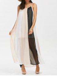 Spaghetti Strap Chiffon Color Block Casual Maxi Dress