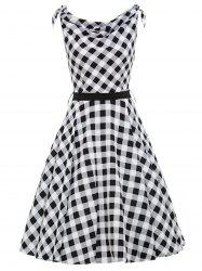 Vintage Cowl Neck Checked Belted Dress
