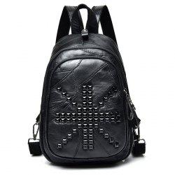 PU Leather Stitching Rivets Backpack
