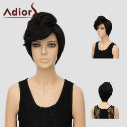 Adiors Short Thick Slightly Curled Oblique Bang Synthetic Hair