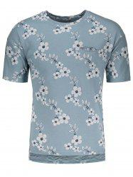 High-Low Hem Floral Embroidered T-Shirt