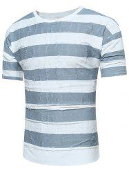 Drop Shoulder High Low Striped Distressed Tee